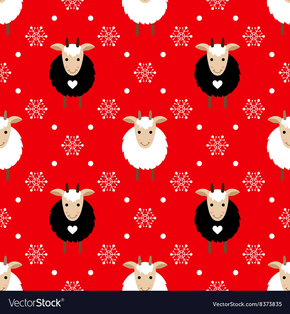 Red seamless pattern with cute goat and snowflakes