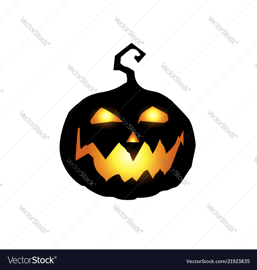 Scary and evil pumpkin jack o lantern with orange