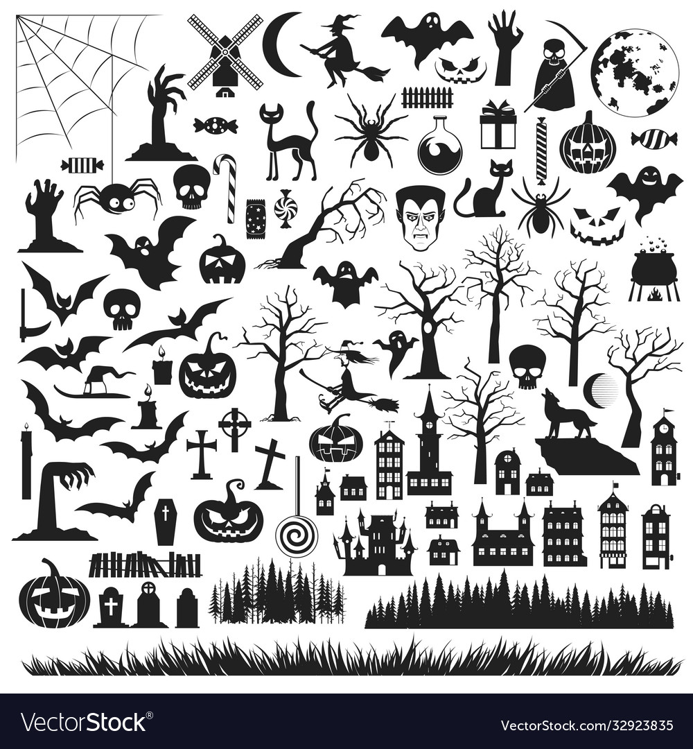 Set halloween silhouettes icon and characters