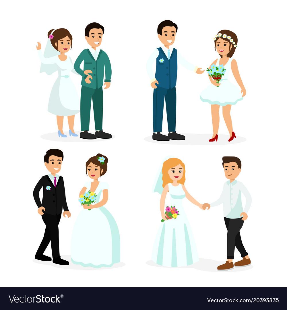 Set of happy characters bride