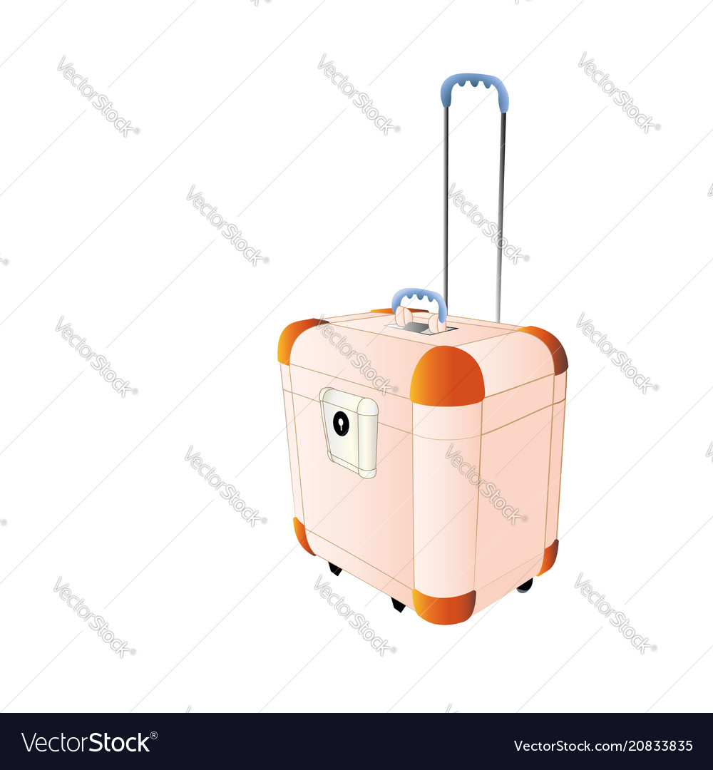 Travel plastic suitcase peach color large with