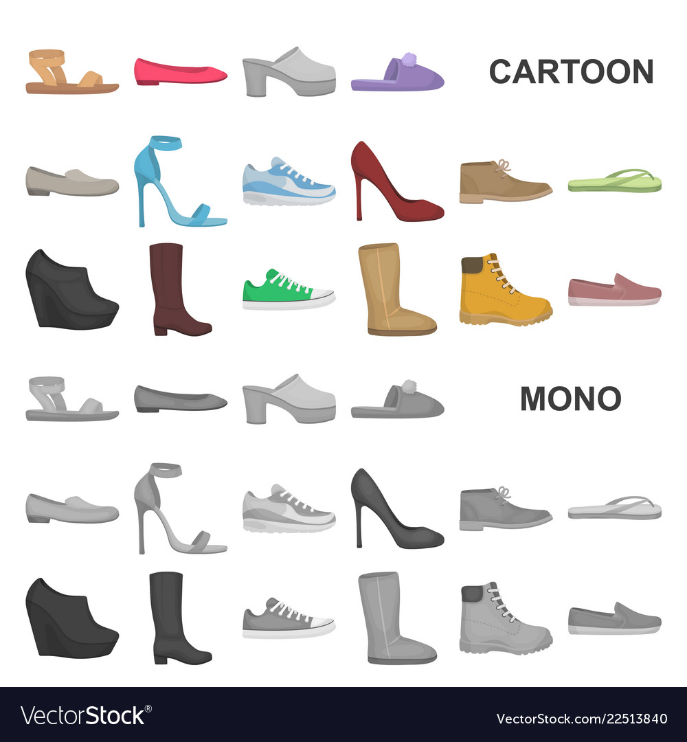 3a909bbdfac7 A variety of shoes cartoon icons in set collection vector image