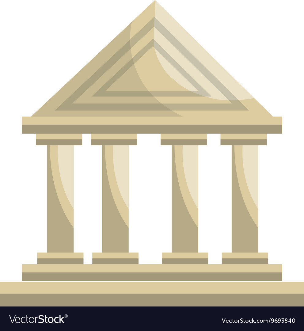 Bank building classic isolated icon