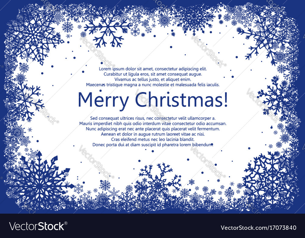 Blue christmas frame with snowflakes vector image