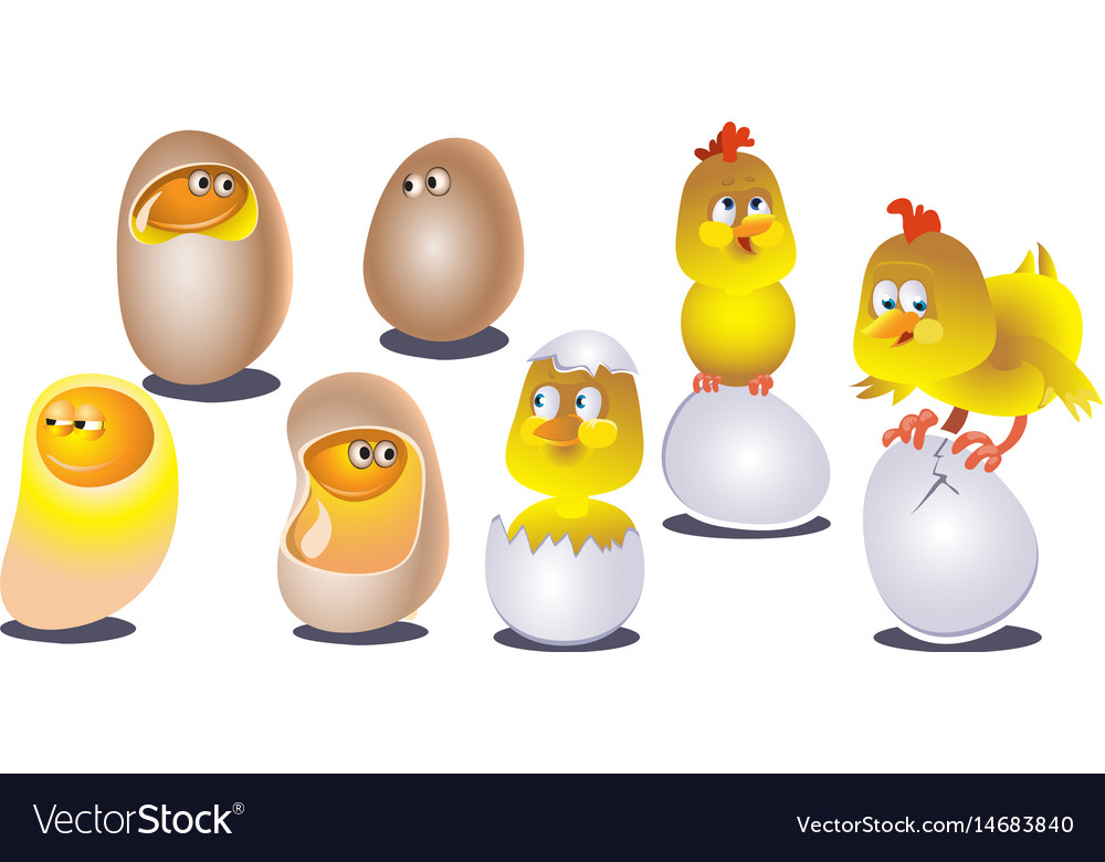 Cute cartoon chicken set funny yellow chickens in vector image