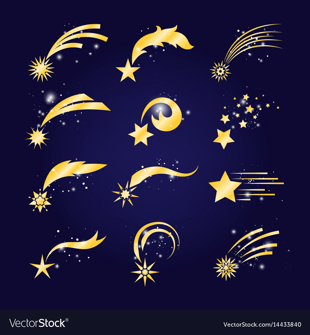 Falling Comets Or Golden Shooting Stars Royalty Free Vector