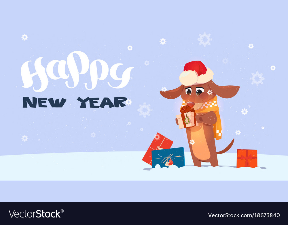 happy new year 2018 background with cute dog vector image