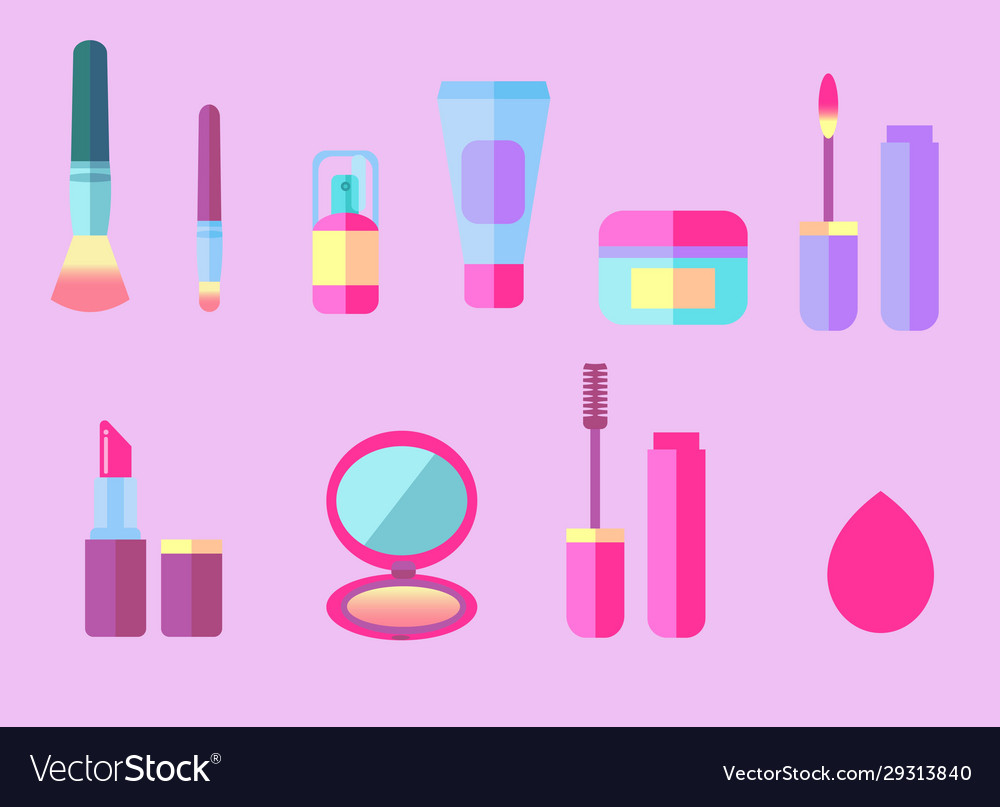 Makeup Beauty Products Set Royalty Free Vector Image