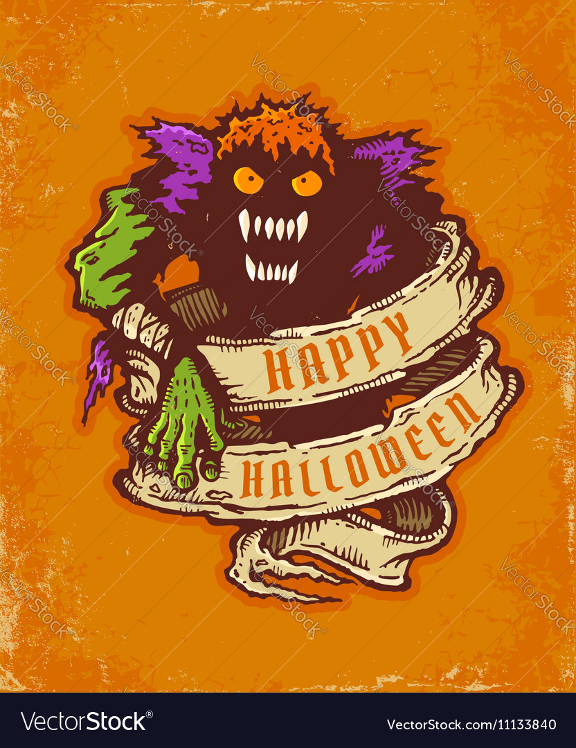 Monster orange vector image