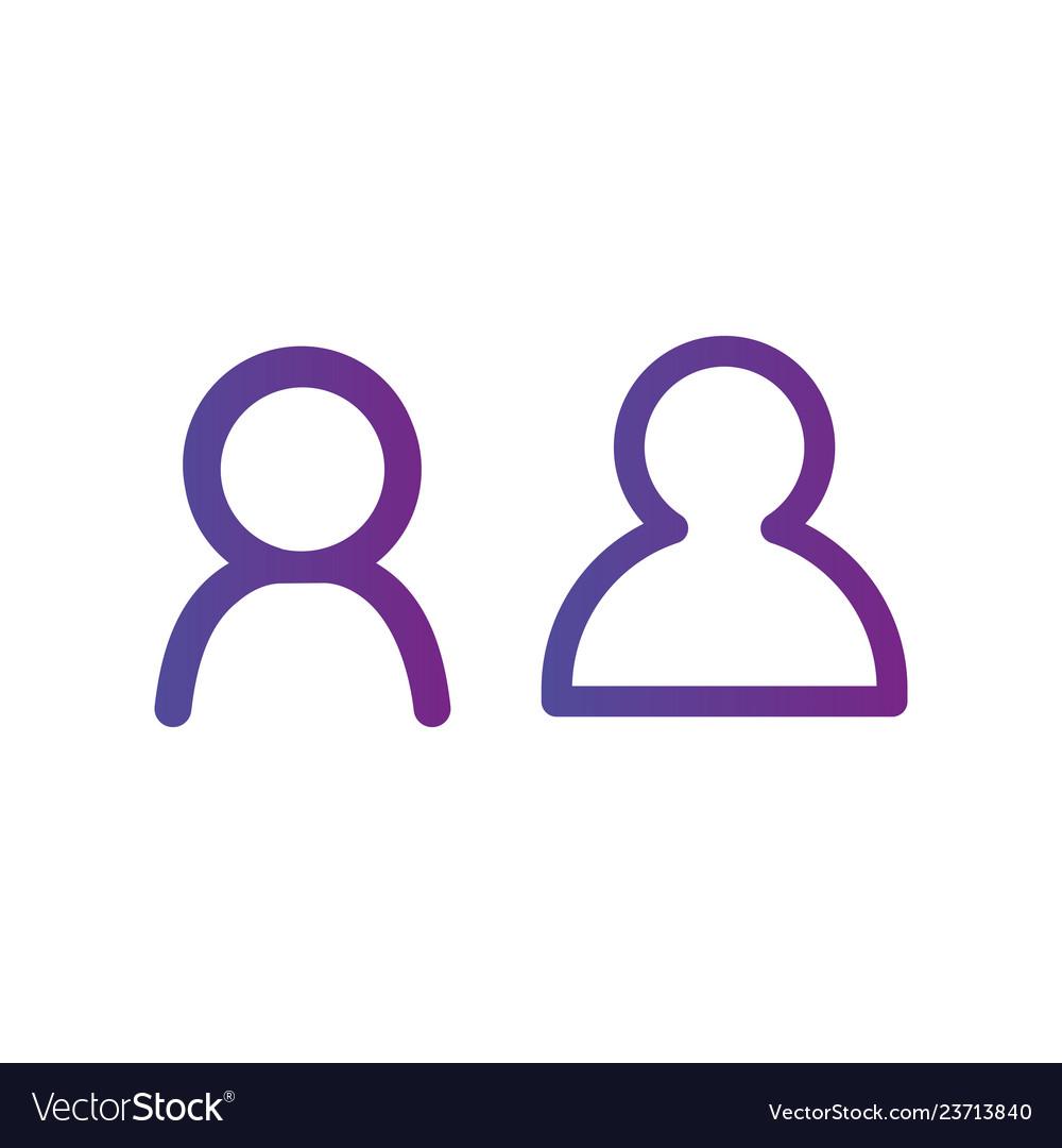 Purple linear outline person icon user icon