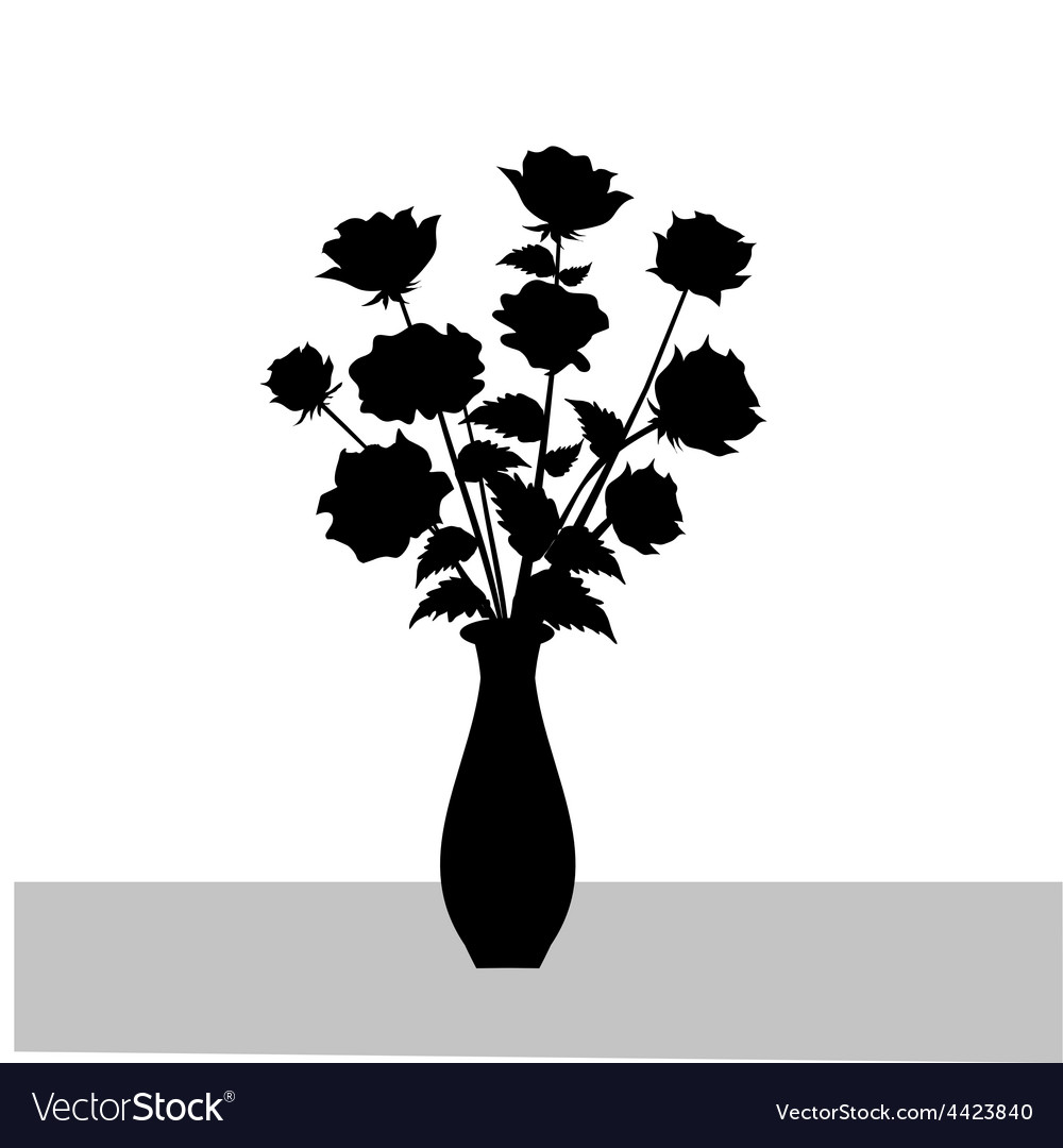 Rose Flower Vase Silhouette Royalty Free Vector Image