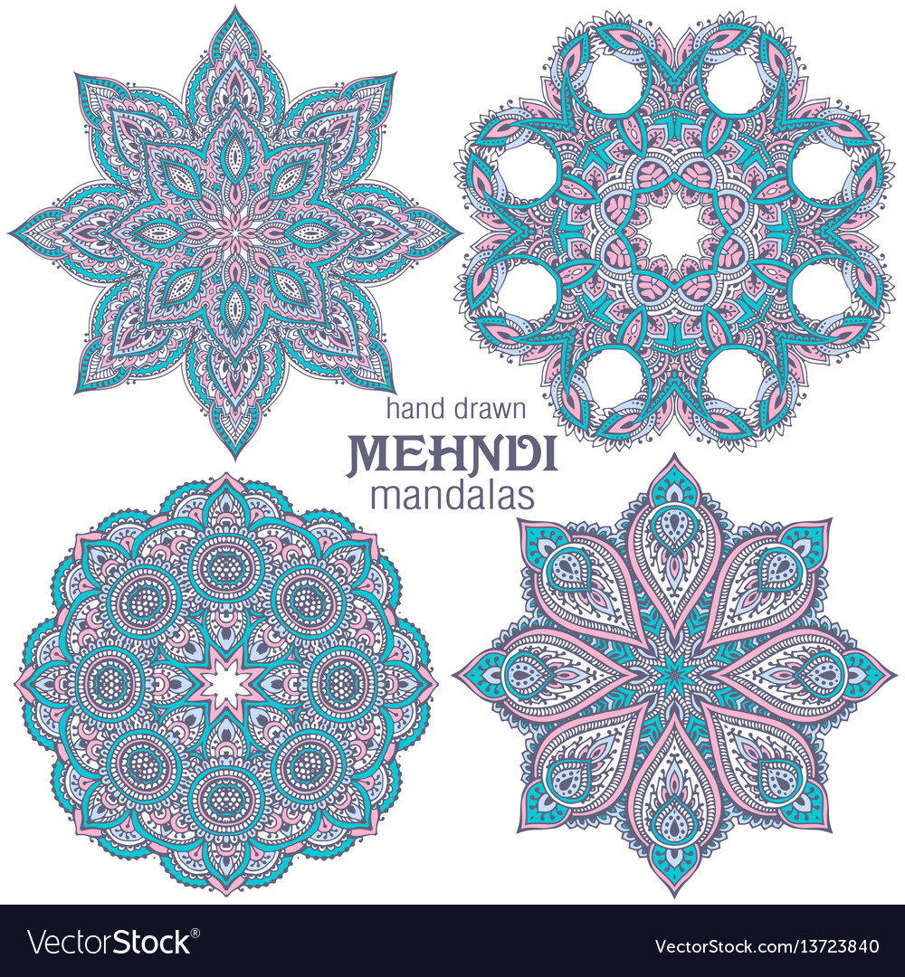 Set of four abstract round lace design