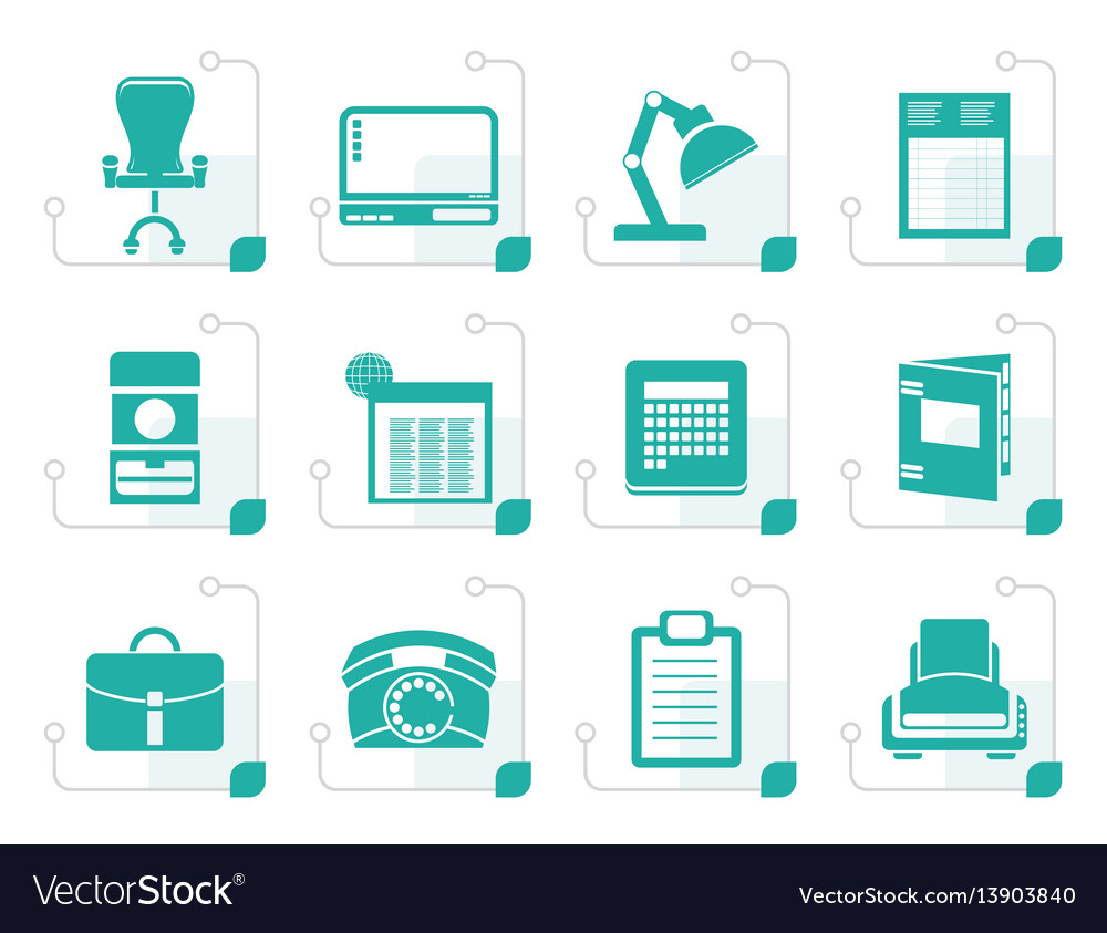 Stylized simple business office and firm icons