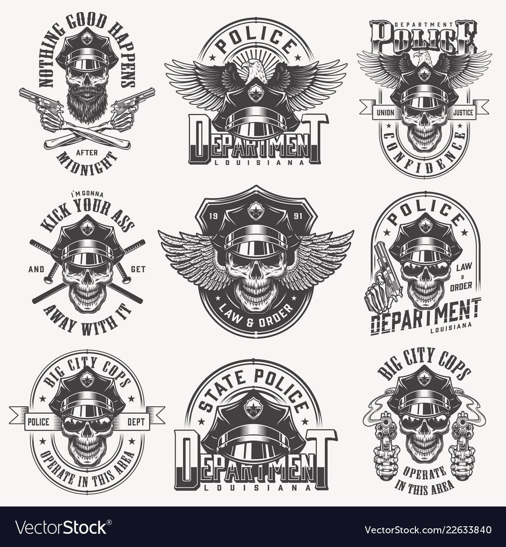 165feb8f261 Vintage monochrome police labels set