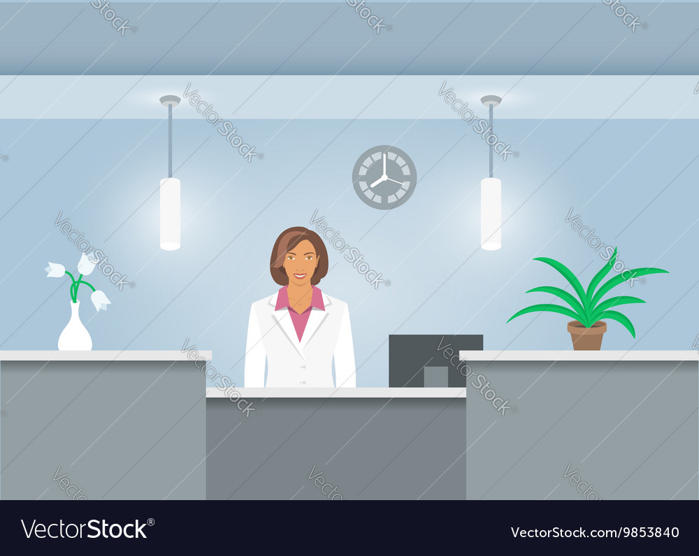 Woman receptionist in medical coat at reception