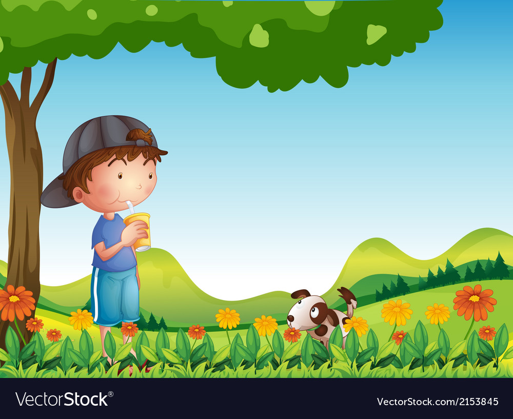 A boy under tree with his pet
