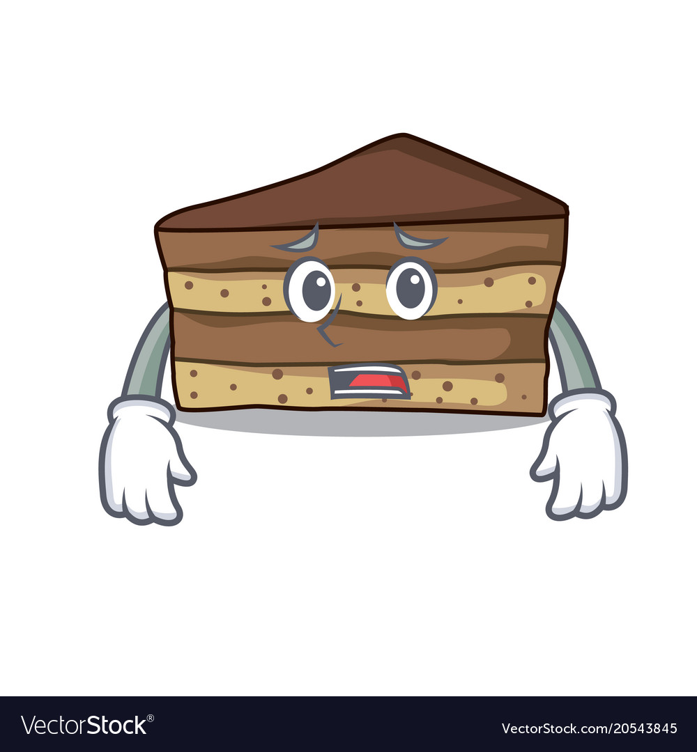 Afraid tiramisu mascot cartoon style