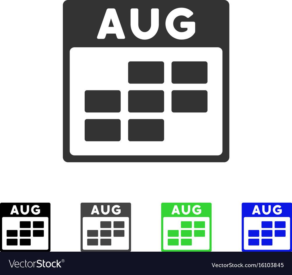 August calendar grid flat icon vector image