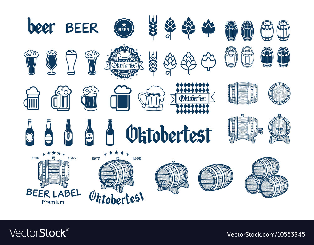 Beer Label and Logos drink icon vector image