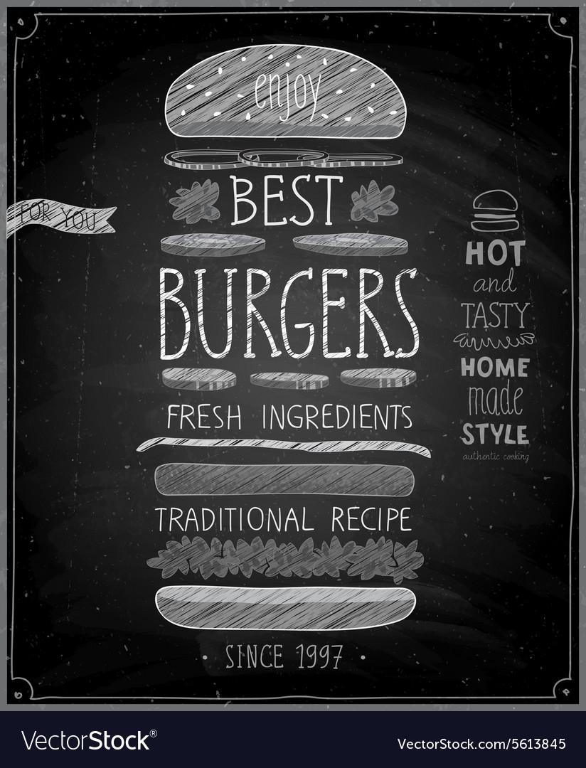Best Burgers Poster - chalkboard style