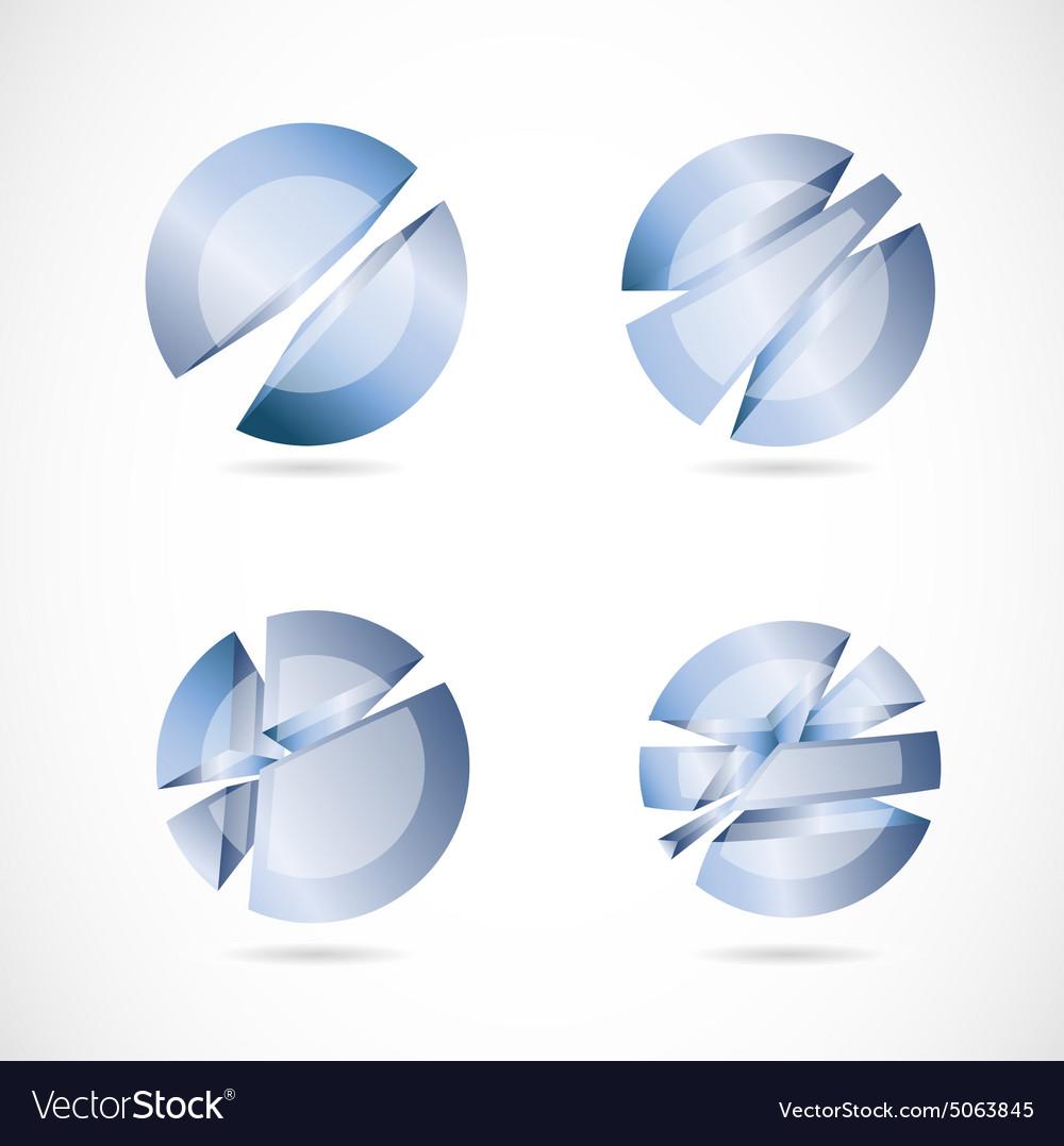 Blue abstract circle sphere set logo