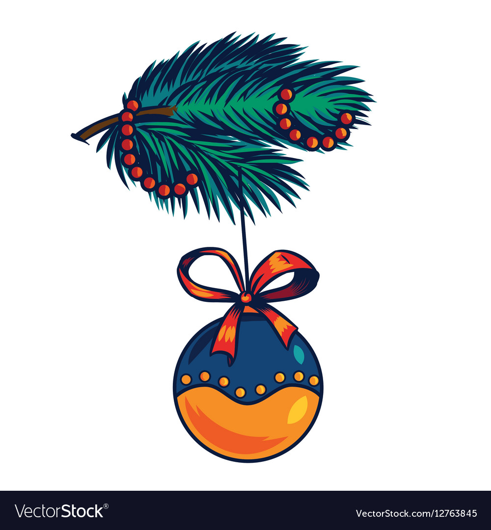 Branch of a Christmas tree decoration ball