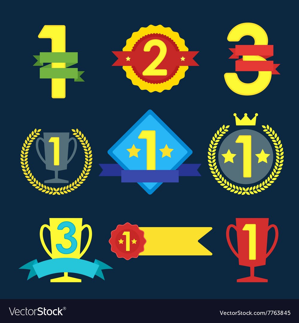 Medal and winner icon set
