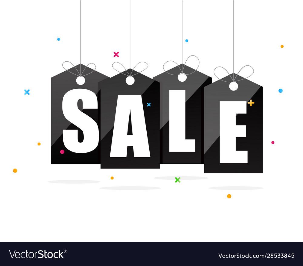 Sale sign on black tags