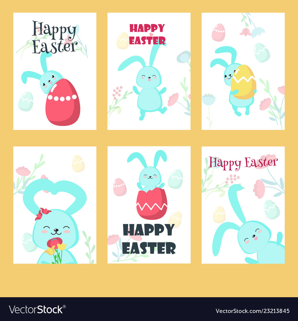 Set of greeting cards with easter rabbits