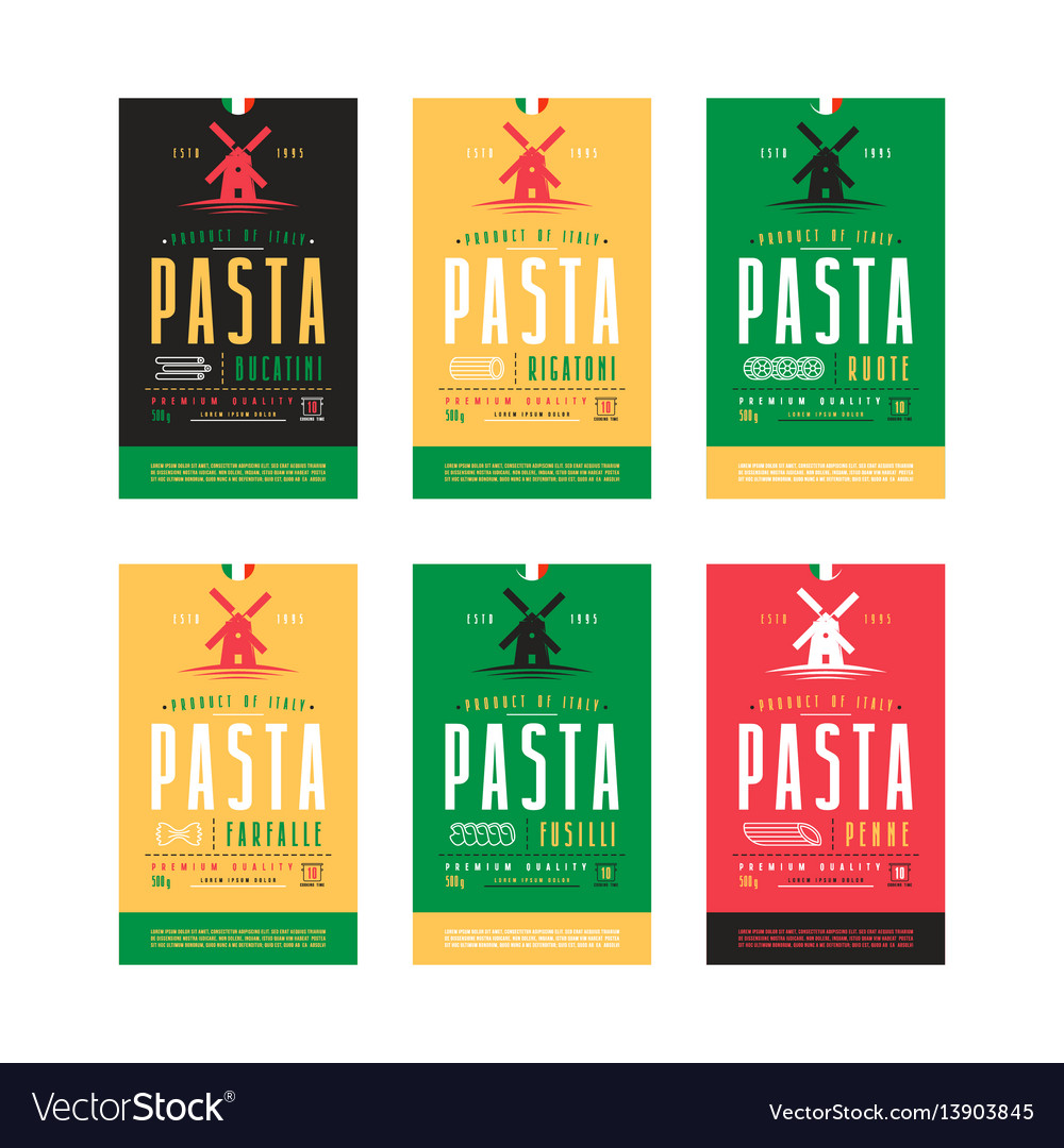 Set of templates label for pasta