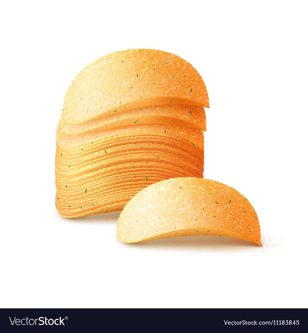 Stack of Potato Crispy Chips Close up Isolated