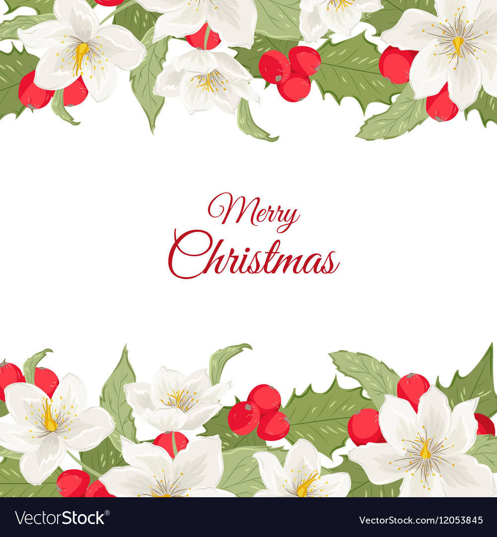 White Christmas rose holly berry mistletoe garland