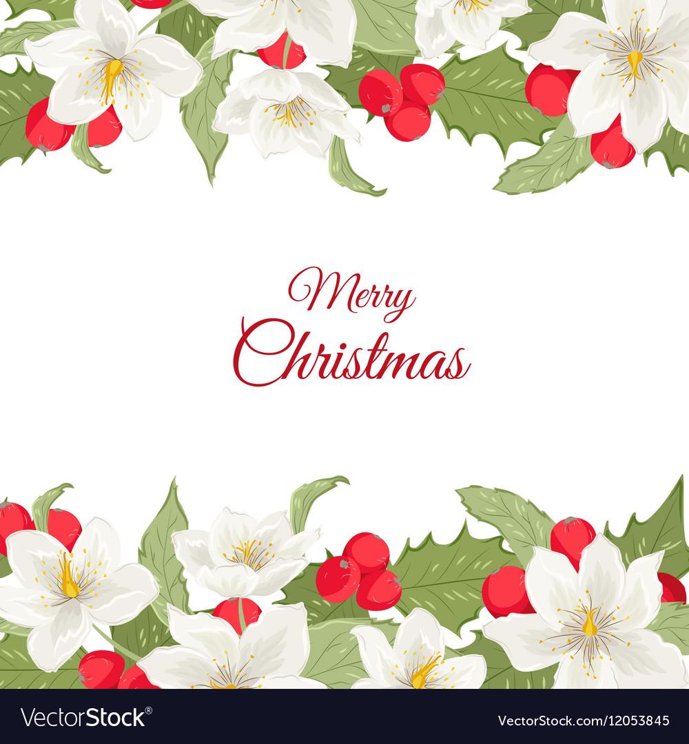 White Christmas Rose Holly Berry Mistletoe Garland