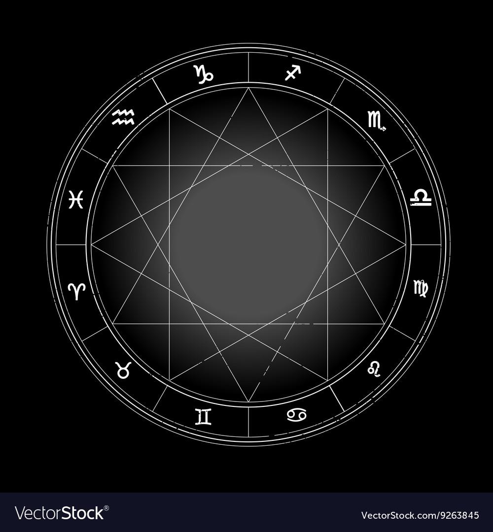 Zodiac wheel monochrome horoscope chart Royalty Free Vector