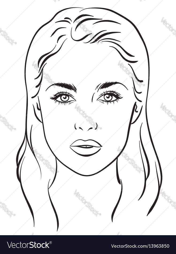 Beautiful woman portrait face chart template vector image