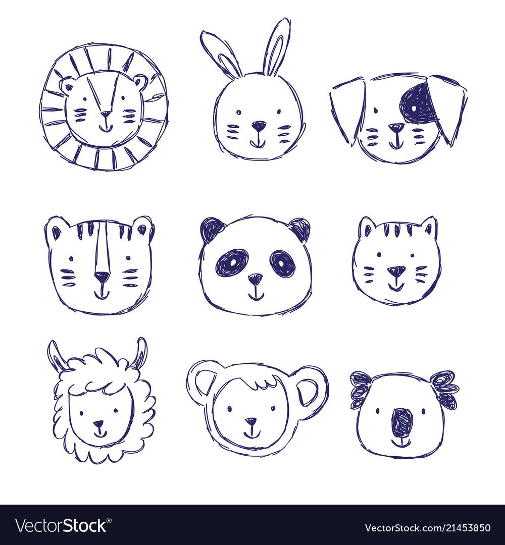 Childish set of with cute animals