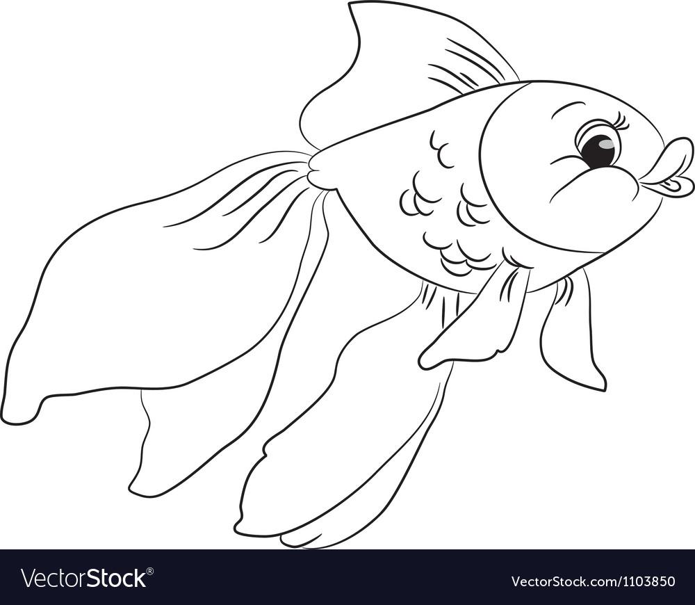 Coloring cartoon goldfish vector image