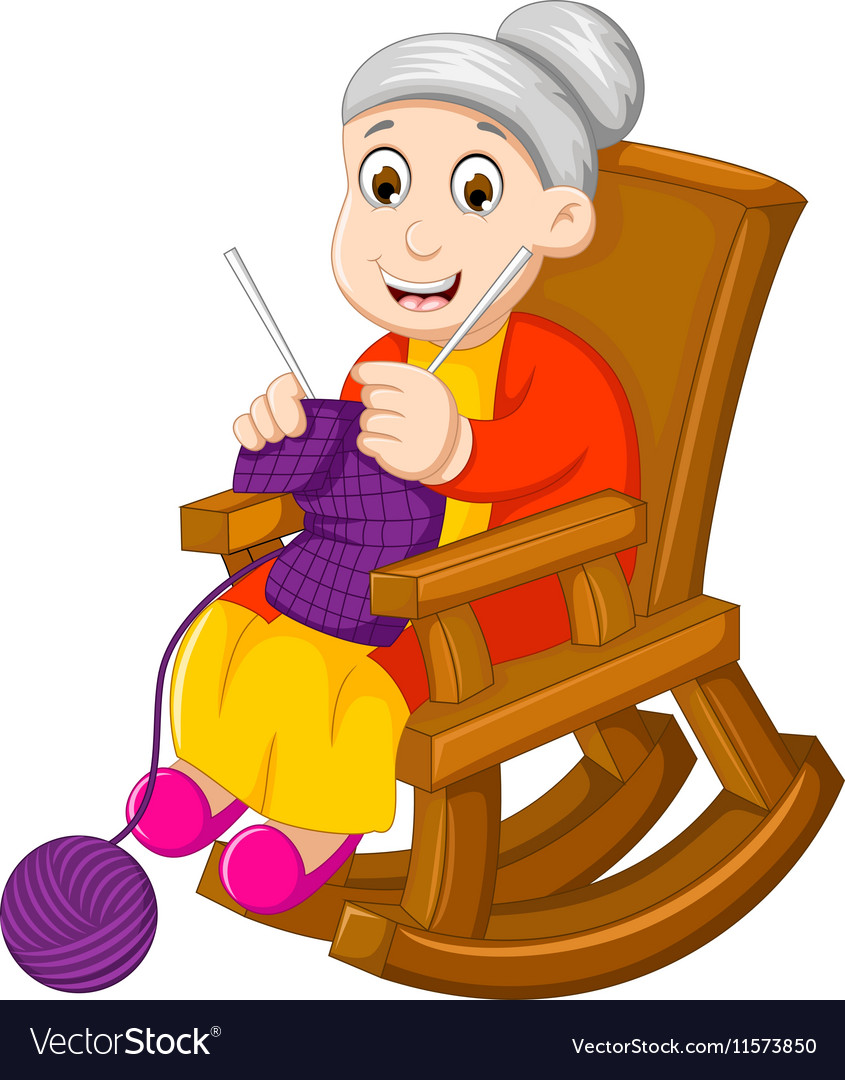 Funny grandmother cartoon knitting in a rocking ch