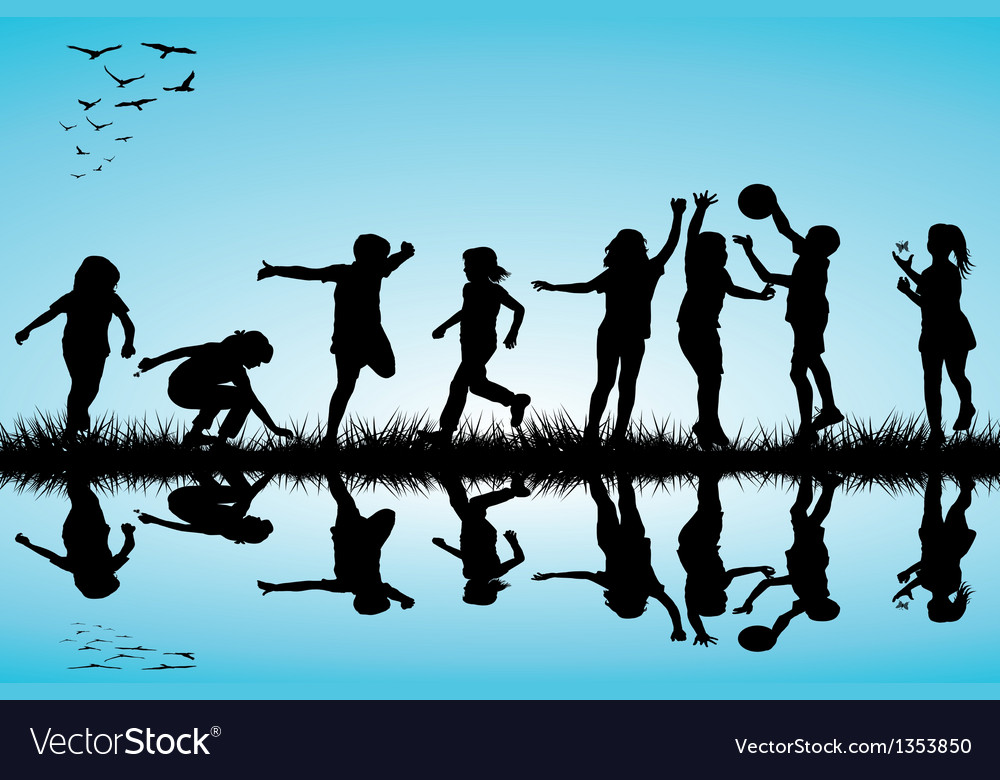 Group Of Children Silhouettes Playing Outdoors