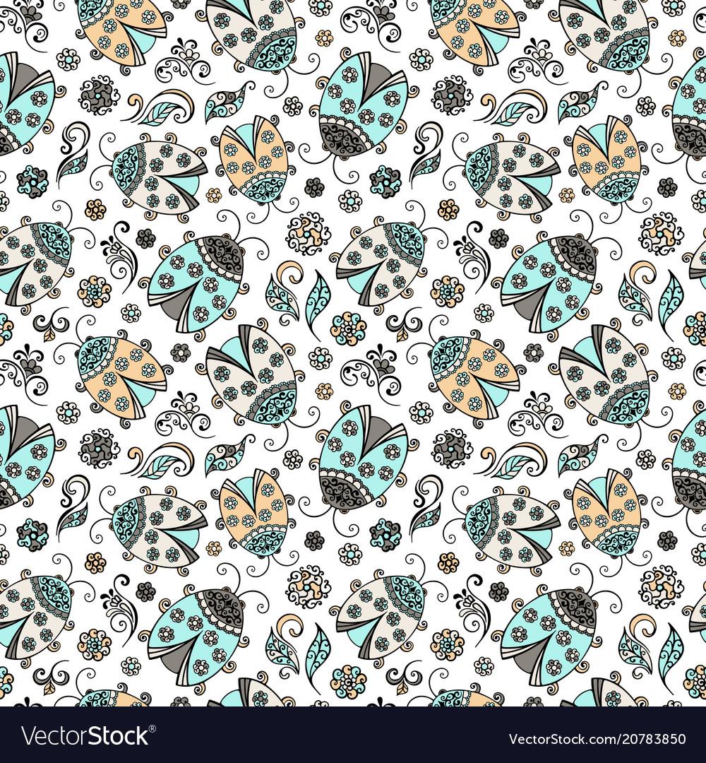 Ladybug decorative lace hand drawn vector image
