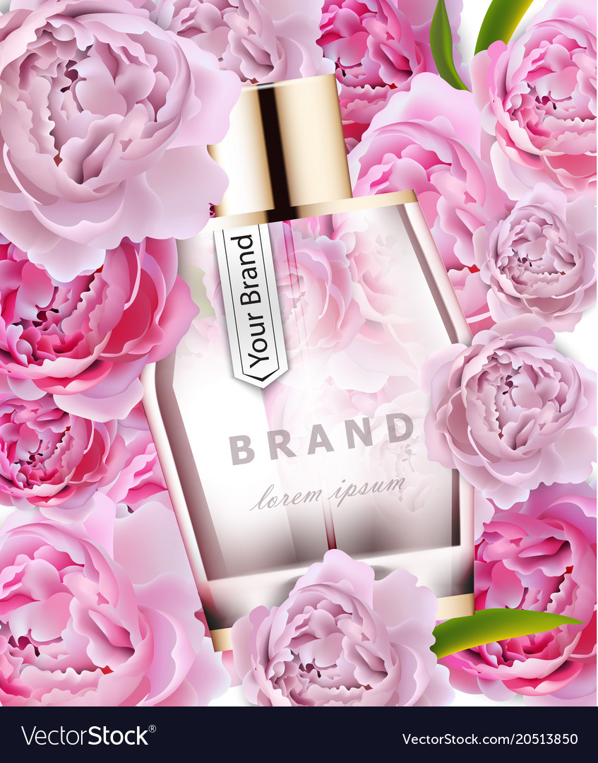 Realistic Pink Perfume Bottle Mock Up Royalty Free Vector