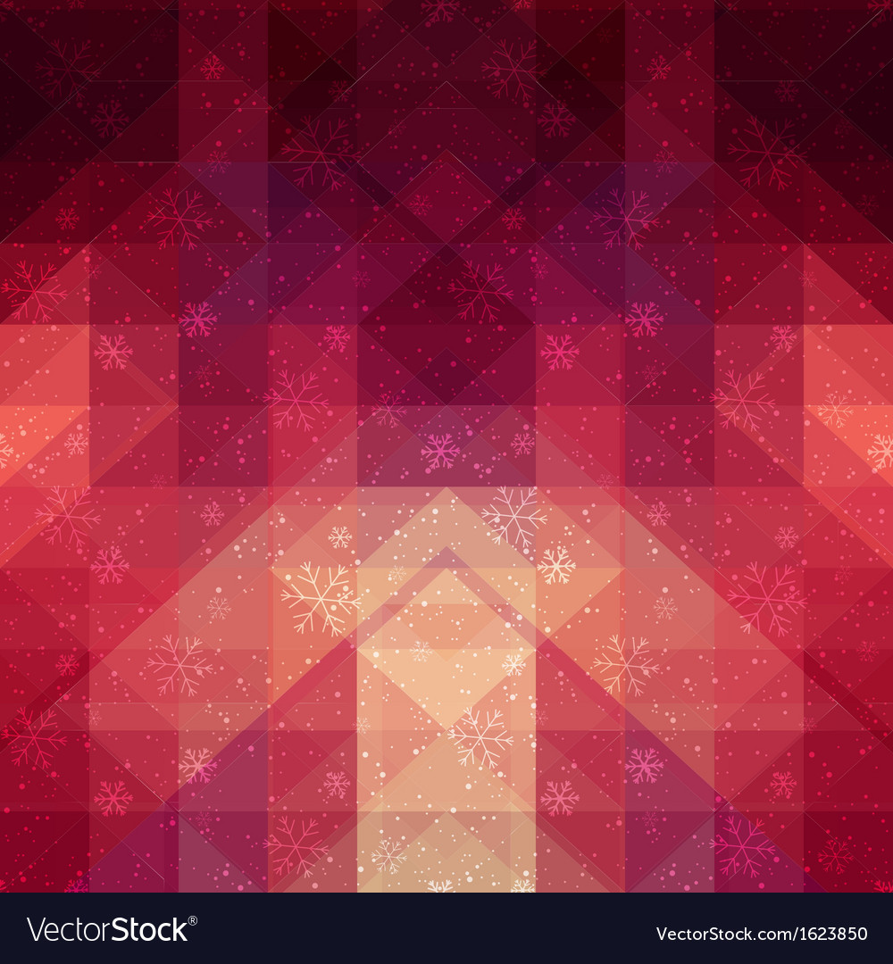 Red winter background with triangle texture