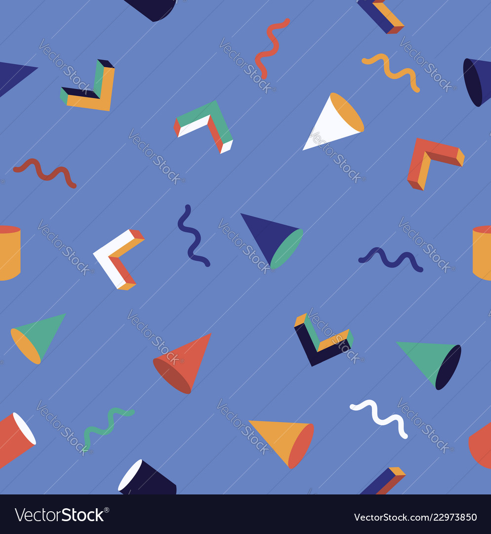 Seamless colorful geometric memphis pattern