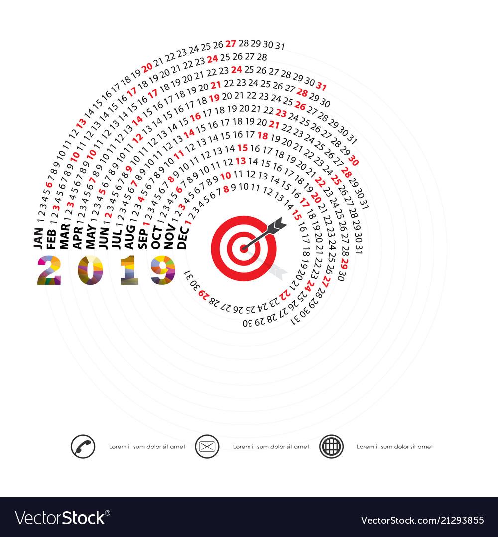 2019 calendar templatespiral calendarcalendar