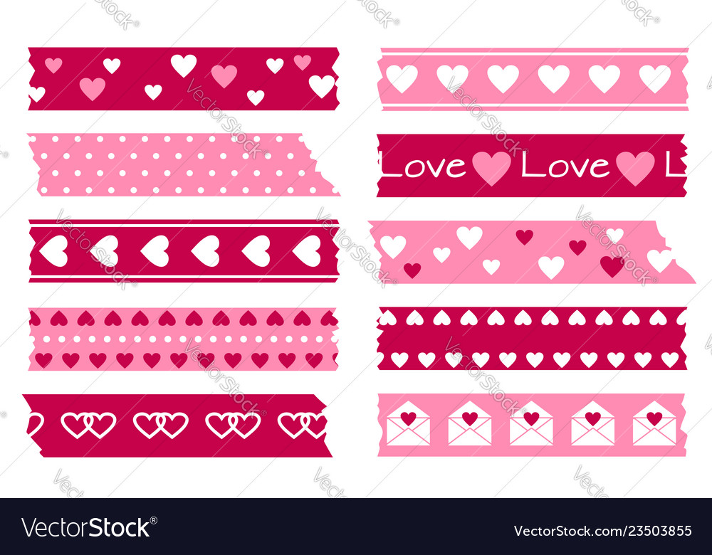 Adhesive types with hearts valentines wedding