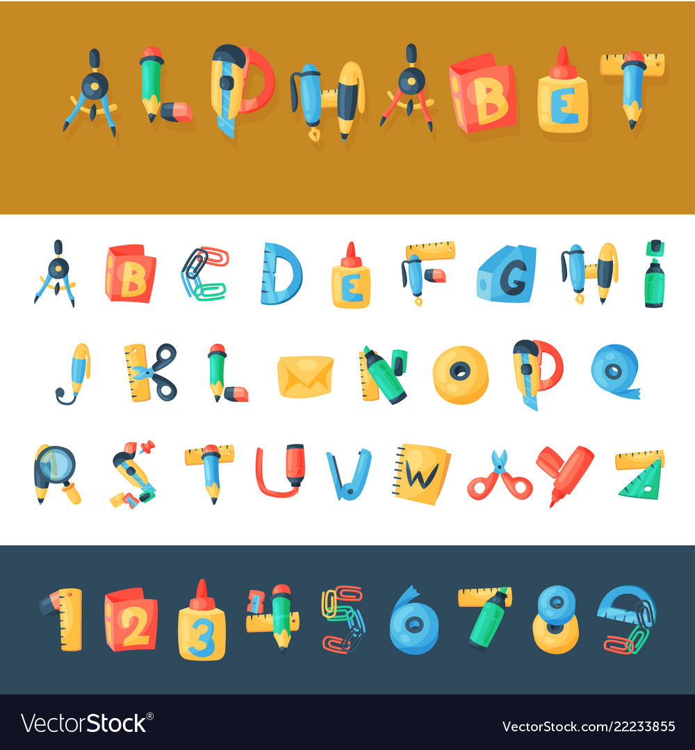 Alphabet stationery letters abc font