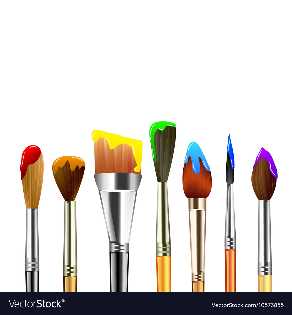 Artist paint brushes isolated on white background Vector Image