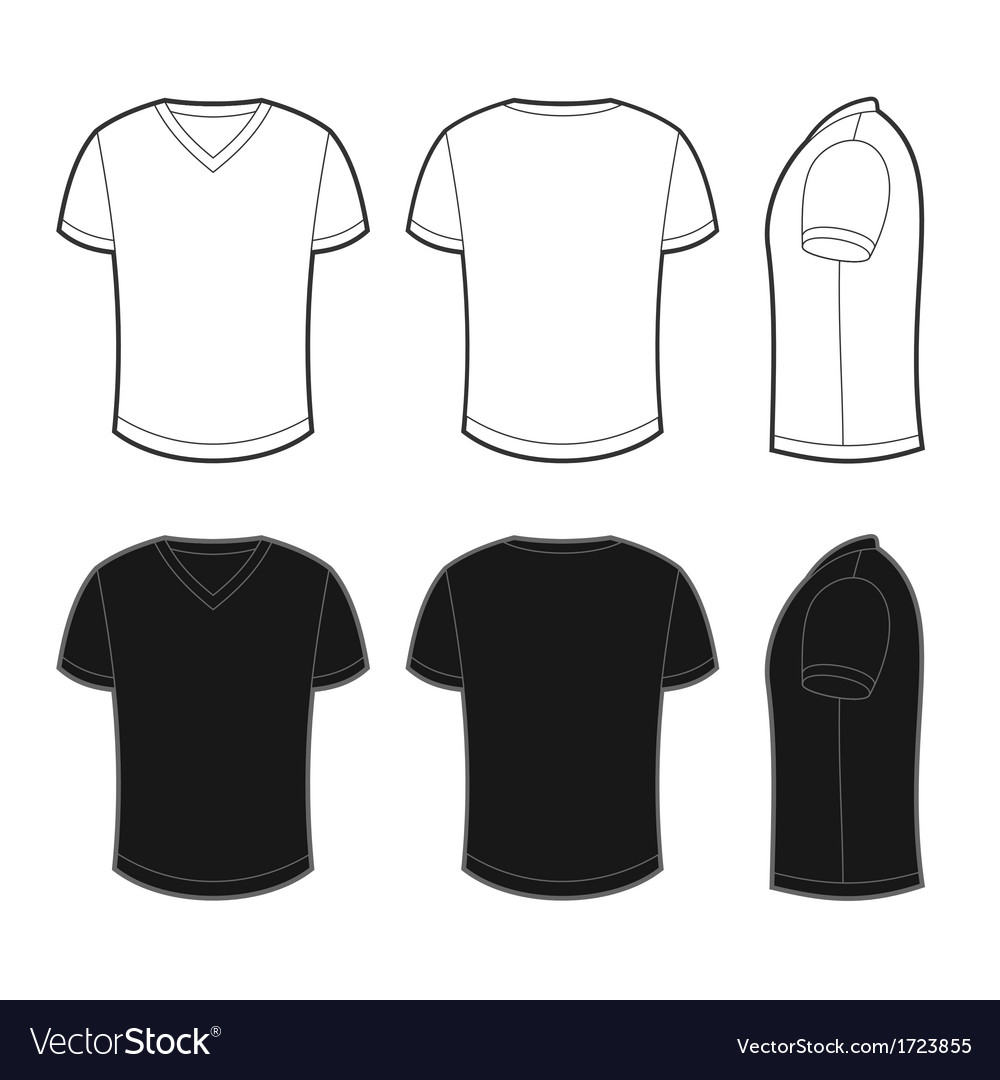 Front back and side views of blank t-shirt