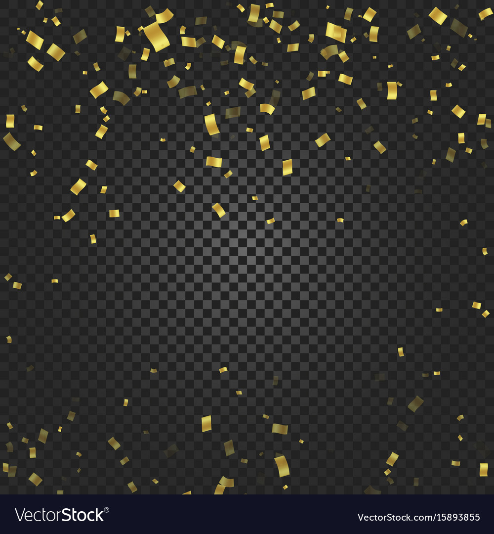 Gold confetti falling and ribbons on black