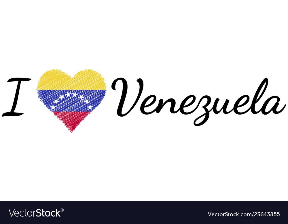 I love country venezuela text heart doodle